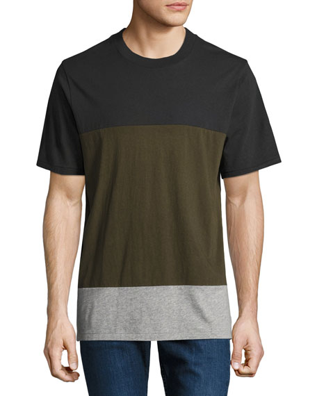 Rag & Bone Precision Block Crewneck T-Shirt, Green/Black