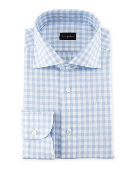 Ermenegildo Zegna Gingham-Print Cotton Dress Shirt