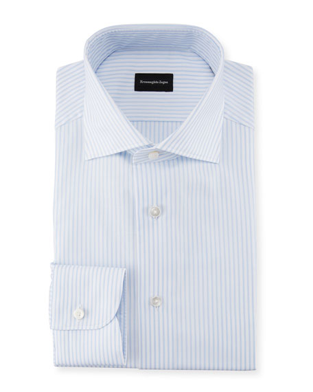 Ermenegildo Zegna Striped Barrel-Cuff Dress Shirt, White/Light