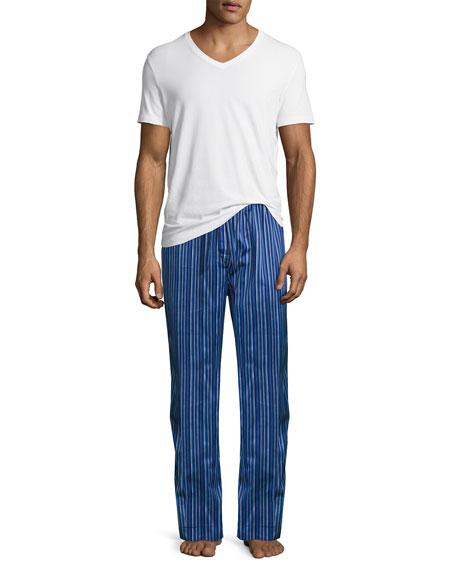 Satin-Stripe Pajama Pants