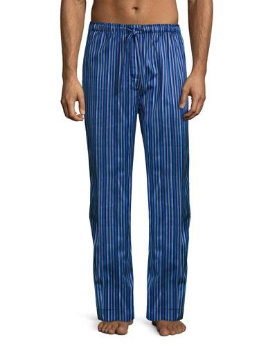 Satin-Stripe Pajama Pants, Blue