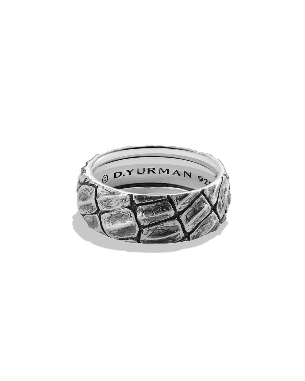 7de86fe67c8d5 David Yurman Men s 12mm Sterling Silver Naturals Gator Band Ring ...