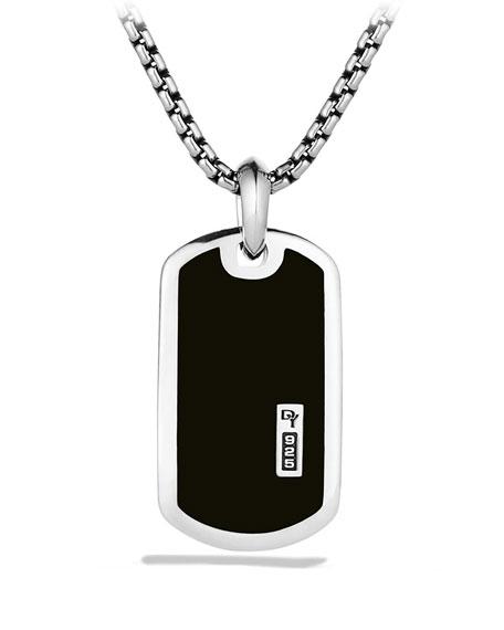 David Yurman Exotic Stone Tag Necklace with Black