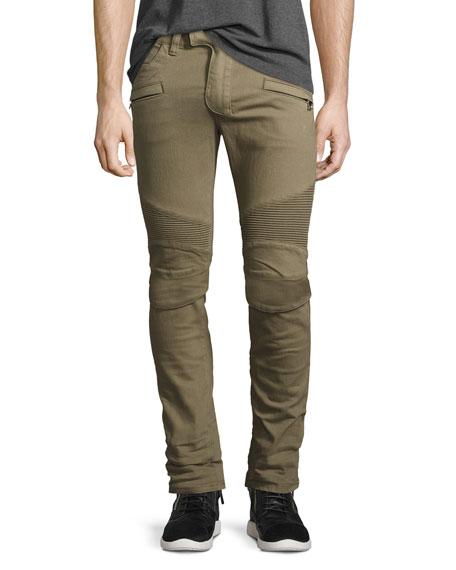 Slim-Fit Denim Biker Jeans, Khaki