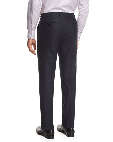 Flannel Flat-Front Trousers, Navy