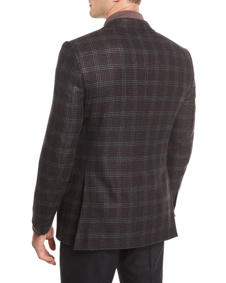 Two-Button Plaid Wool Sport Coat