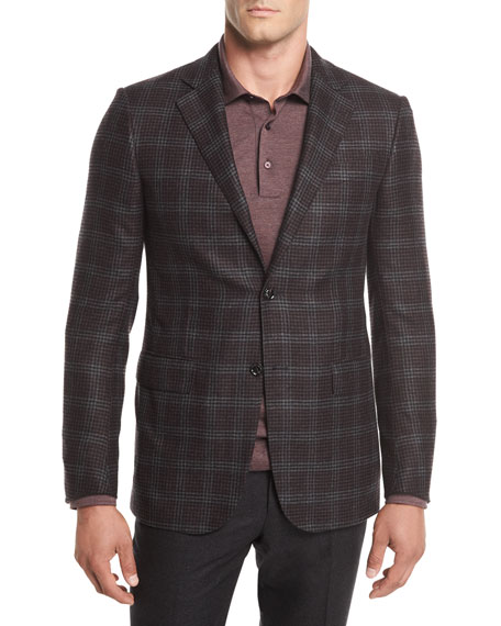 Ermenegildo Zegna Two-Button Plaid Wool Sport Coat