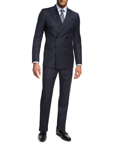 Tonal Check Wool Double-Breasted Two-Piece Suit, Navy