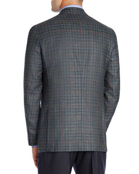 Multi-Check Wool-Cashmere Two-Button Sport Coat