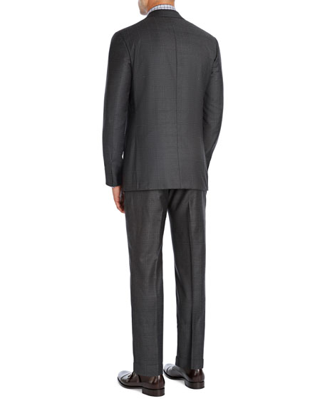 Windowpane Super 140s Wool Two-Piece Suit, Charcoal Gray