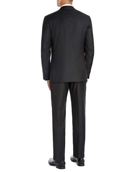 Striped Super 140s Wool Two-Piece Suit, Black/Brown