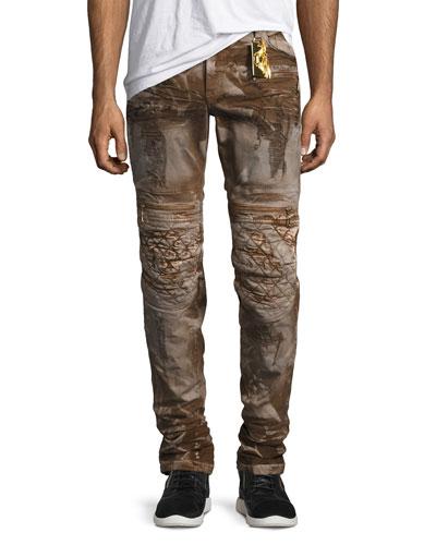 Distressed Metallic Moto Pants, Brown
