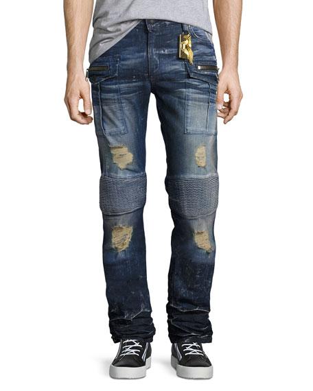 Robin's Jeans Moto-Style Cargo Jeans, Dark Blue