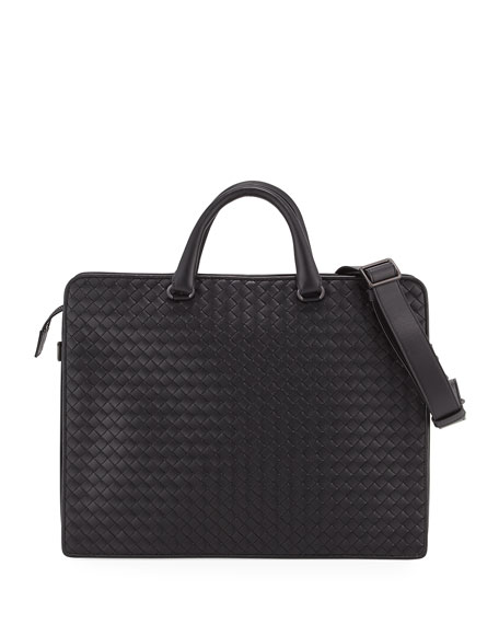 Bottega Veneta Intrecciato Calf Leather Briefcase, Black