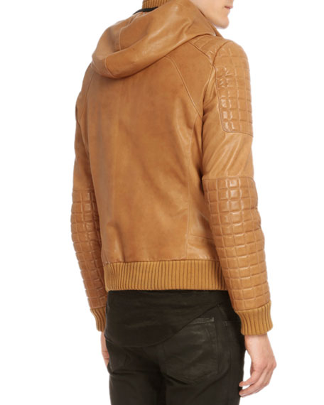 Hooded Leather Three-Zip Jacket, Brown
