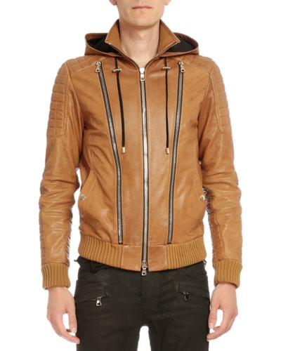 Hooded Leather Three-Zip Jacket, Brown