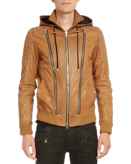Balmain Hooded Leather Three-Zip Jacket, Brown