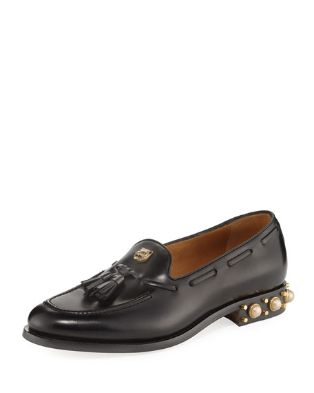 Leather Loafer with Feline