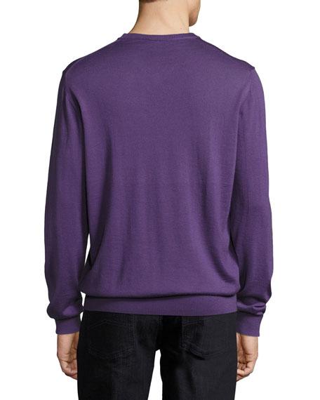 Wool V-Neck Sweater, Purple