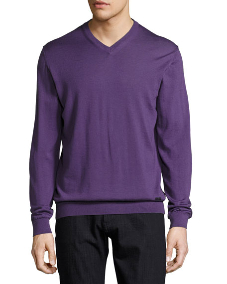 Armani Collezioni Wool V-Neck Sweater, Purple