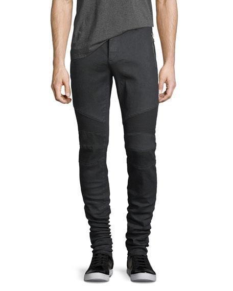 Balmain Skinny Moto Zip-Pocket Jeans