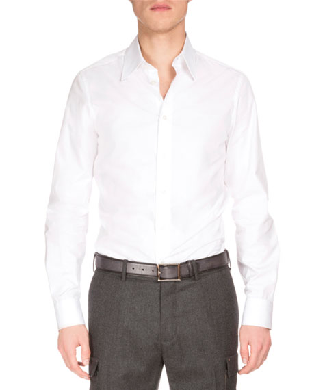 Berluti Basic Long-Sleeve Woven Sport Shirt, White