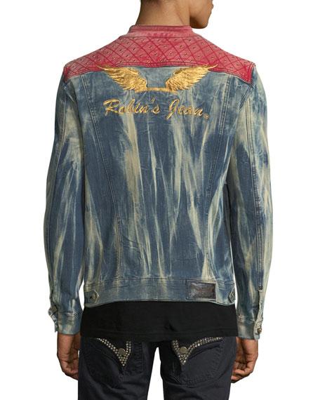 Studded Mixed-Denim Trucker Jacket