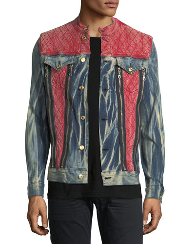 Studded Mixed-Denim Trucker Jacket