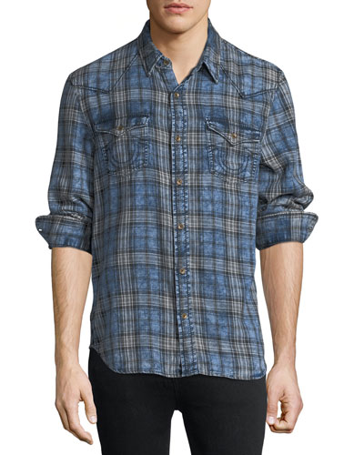 Plaid Denim Western Shirt