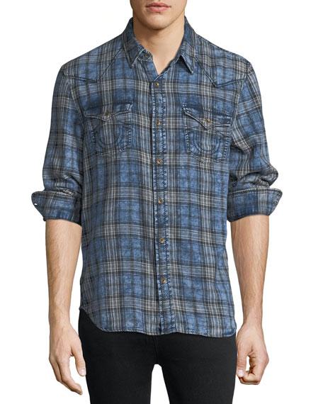 Plaid Denim Western Shirt