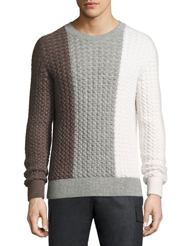 Tricolor Cable-Knit Crewneck Sweater