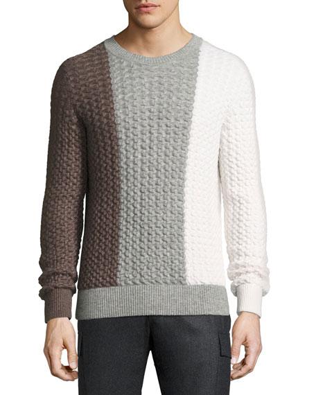 Berluti Tricolor Cable-Knit Crewneck Sweater