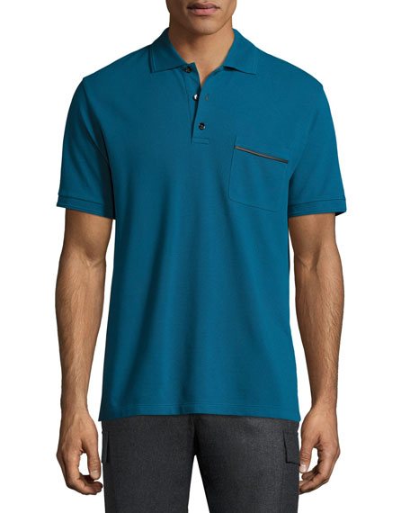 Berluti Leather-Trim Polo Shirt, Gasoline