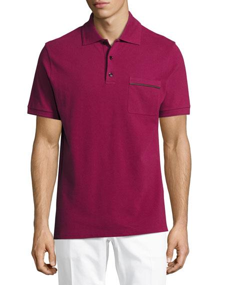 Berluti Leather-Trim Polo Shirt, Prickly Pear