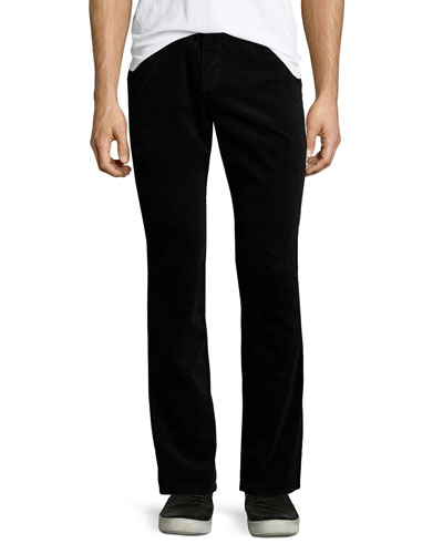 718 Slim-Fit Corduroy Pants, Black