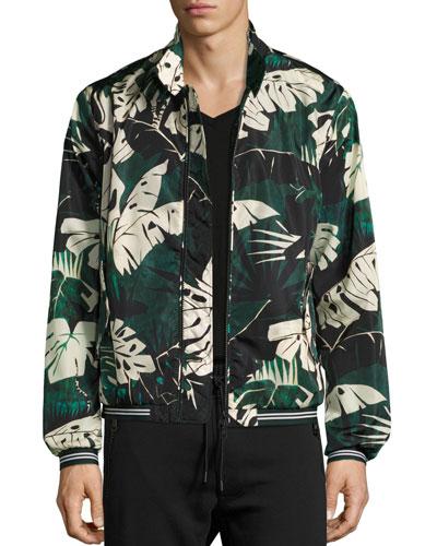 Leaf-Print Nylon Zip-Front Jacket, Green