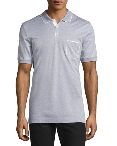 Cotton 3-Button Polo Shirt with Gancini Detail on Pocket, Gray