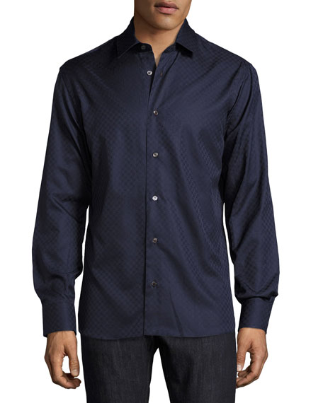 Salvatore Ferragamo Tonal Gancini-Print Jacquard Shirt, Navy