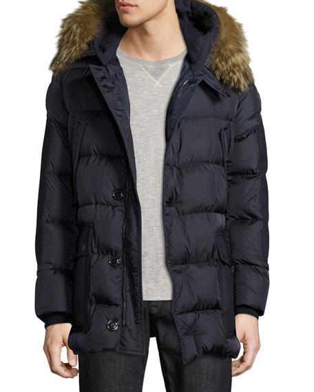 Moncler Gaze Down Parka with Detachable Fur-Trim Hood,