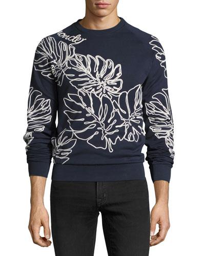 Leaf-Embroidered Sweatshirt, Navy