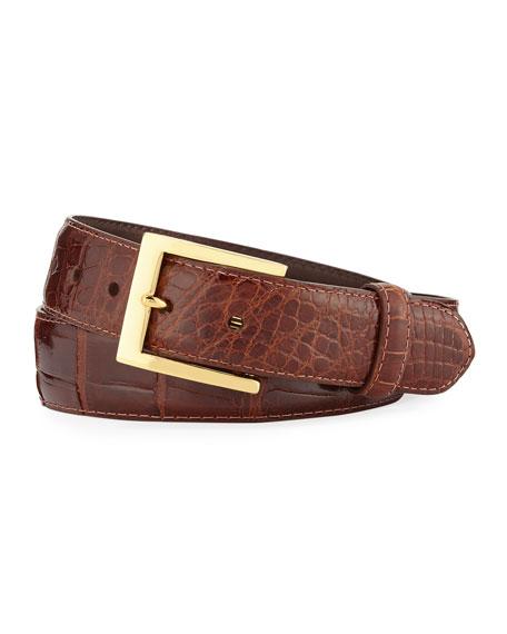 Glazed Alligator Belt with Interchangeable Buckles, Brown