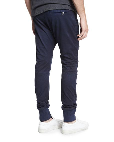 Drawstring Twill Biker Pants, Blue Navy