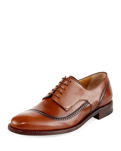 Apron-Toe Leather Oxford Shoe, Brown