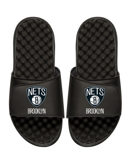 Men's NBA Brooklyn Nets Primary Slide Sandals, Black