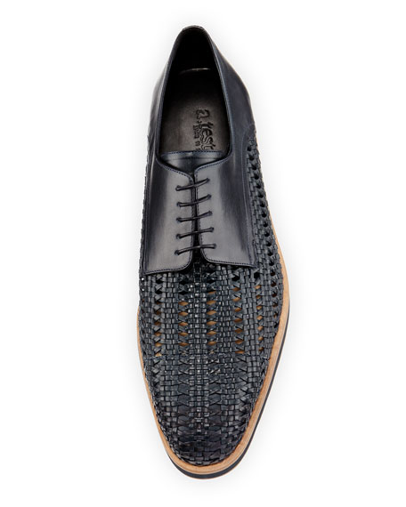 Half-Woven Rubber-Sole Oxford, Navy