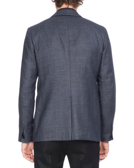 Wool-Silk-Linen Sport Coat, Navy