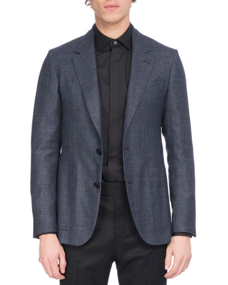 Berluti Wool-Silk-Linen Sport Coat, Navy