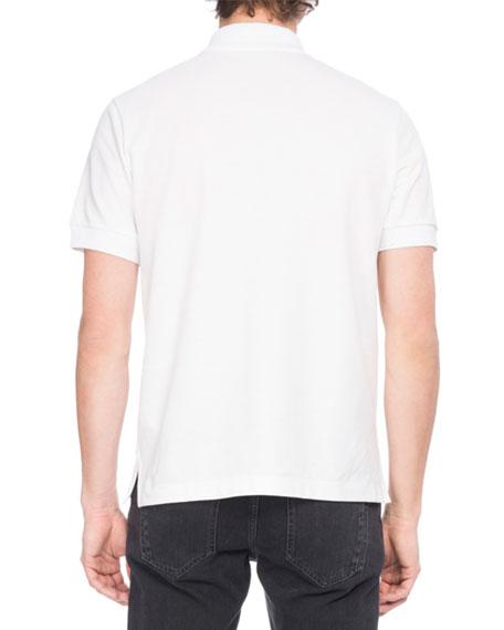 Leather-Trim Polo Shirt, White