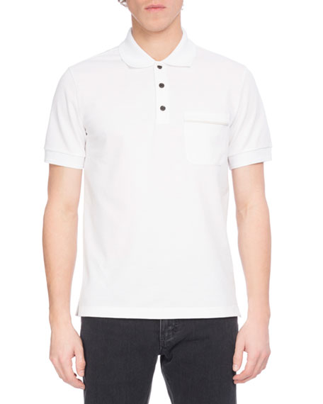 Leather-Trim Polo Shirt, White