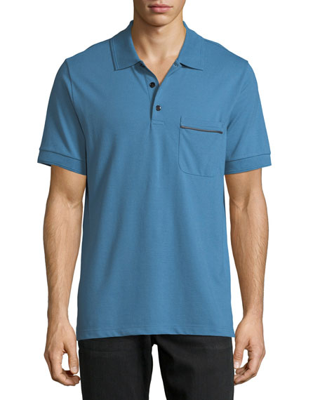 Berluti Leather-Trim Polo Shirt, Marine Blue